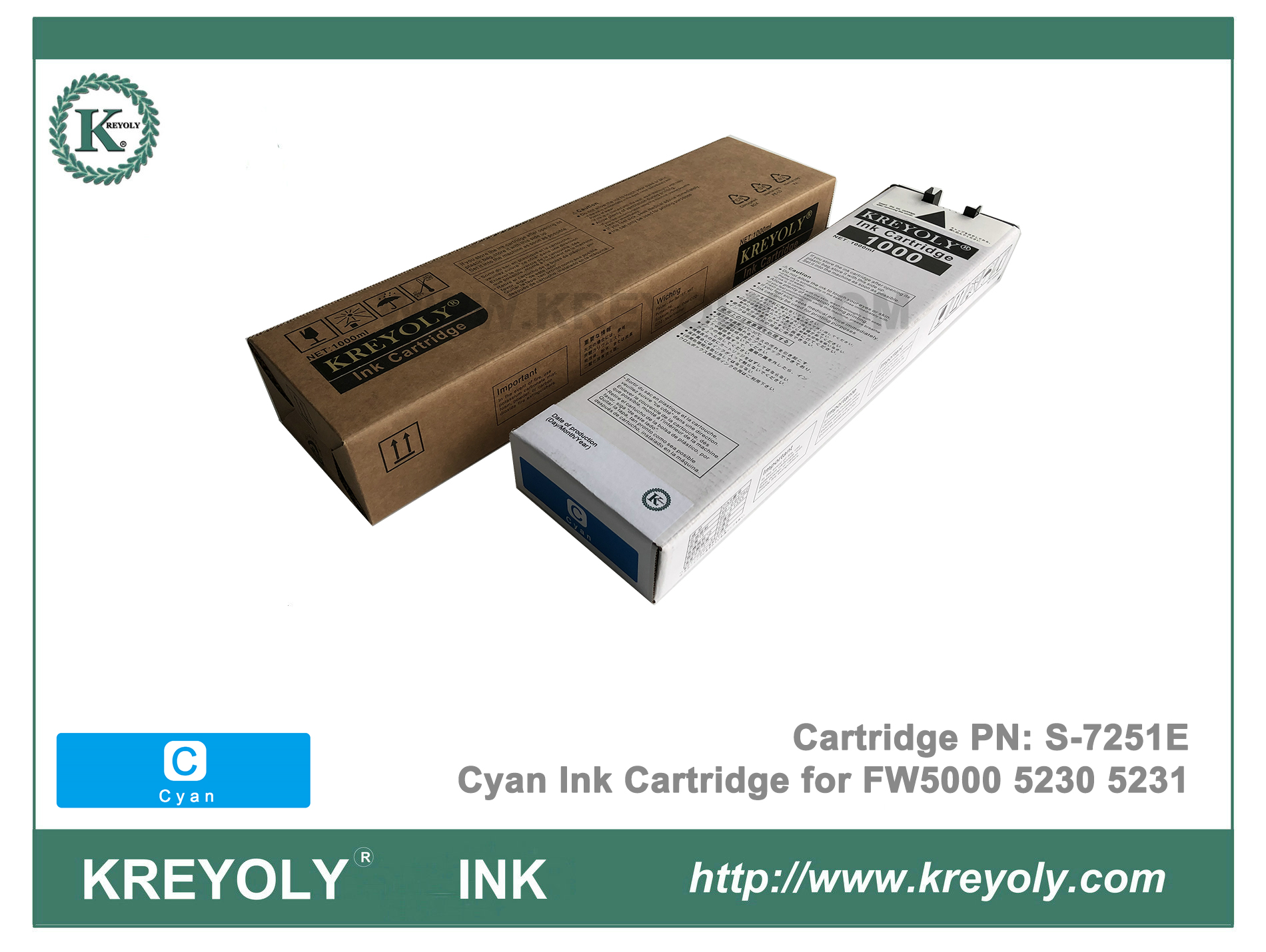 S-7251 Cyan Ink Cartridge for Riso ComColor FW5000 FW5230 FW5231 InkJet Machine
