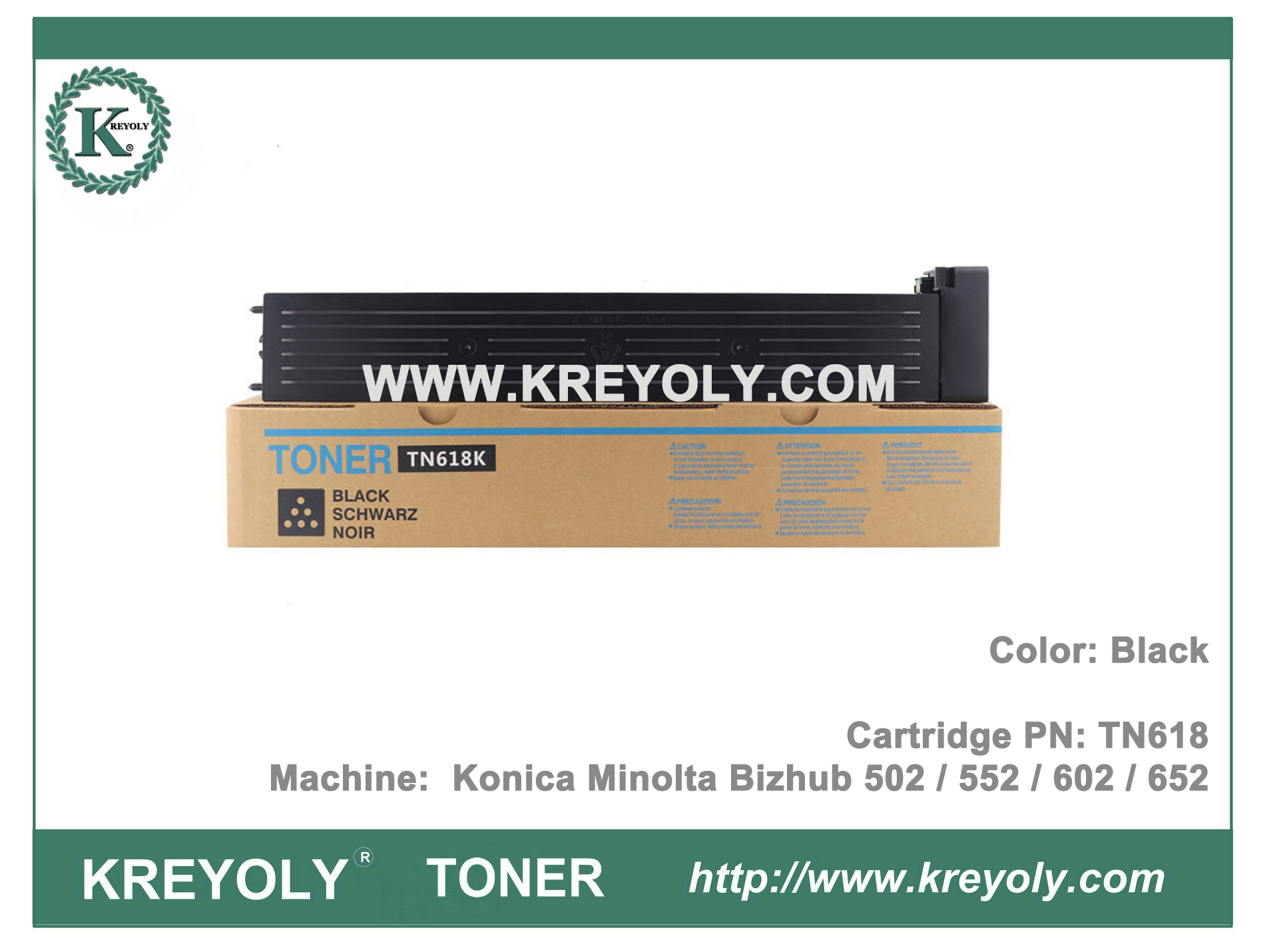 TN618 TONER FOR KONICA MINOLTA BIZHUB 552 652 502 602